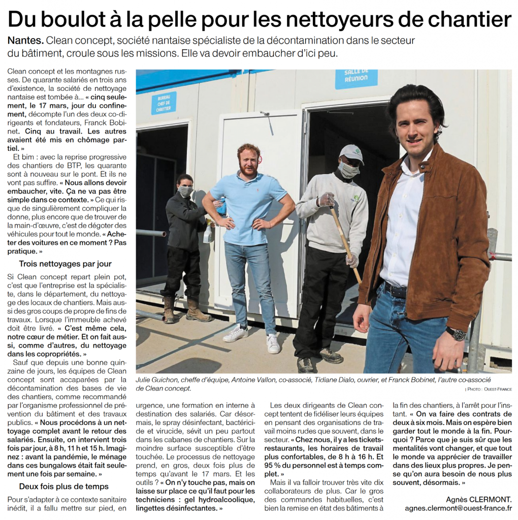 Ouest-france 23 avril 2020 - article d'Agnès CLERMONT
